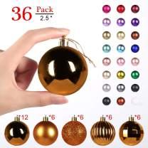 """GameXcel Christmas Balls Ornaments for Xmas Tree - Shatterproof Christmas Tree Decorations Large Hanging Ball Bronze 2.5"""" x 36 Pack"""