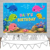 Laeacco Baby's Birthday Backdrop 5x3ft Vinyl Photography Background Underwater World Fish Bubbles Baby Whale Backdrops Cartoon Whales Cute Children Newborn Kids Party Banner Photo Props Customizable