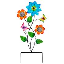 """Ridota 28"""" Metal Yard Art, Metal Garden Stake Decorations, Butterfly Flower Garden Stake Decorative Yard Stake, Indoor Outdoor Lawn Pathway Patio Lawn Ornaments, Multicolor"""