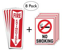 """(8 Pack) FIRE Safety Bundle - (Set of 4) 4"""" x 12"""" Fire Extinguisher Vinyl Stickers & (Set of 4) 6"""" x 8"""" No Smoking Self Adhesive Vinyl Decal Signs - Heavy Duty 4 Mil - UV Protected & Weatherproof"""