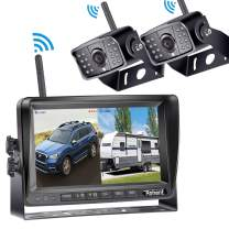 Digital Wireless Dual Backup Camera HD 1080P 2019 Vision 7''DVR Monitor Kit for RVs,Trucks,5th Wheels Support Split/Quard View Screen High-Speed Observation System IP69K Waterproof Driving/Reverse