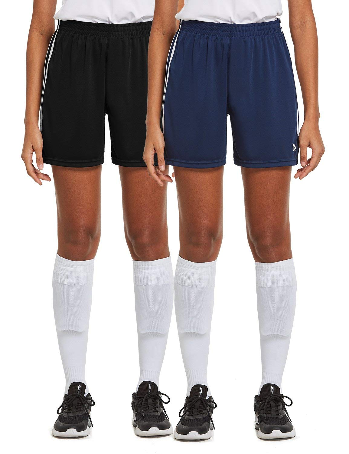 BALEAF Women's 5'' Basketball Soccer Lightweight Shorts 2-Pack UPF50+ Athletic Sports Training Loose-Fit with Drawstrings