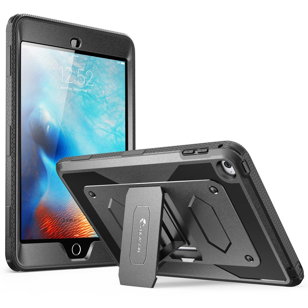 iPad Mini 4 Case, Heave Duty i-Blason Apple iPad Mini 4 2015/2018 Armorbox Dual Layer Hybrid Full-Body Protective Kickstand Case with Front Cover and Built-in Screen Protector/Bumpers (Black)
