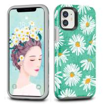 CAFEWICH iPhone 11 Case, Hybrid Shockproof Hard PC+ Soft TPE Flexible Rubber Drop Protection, Cute Pretty Stylish Slim Protective Cover for 2019 iPhone 11 6.1 Inch-White Chrysanthemum