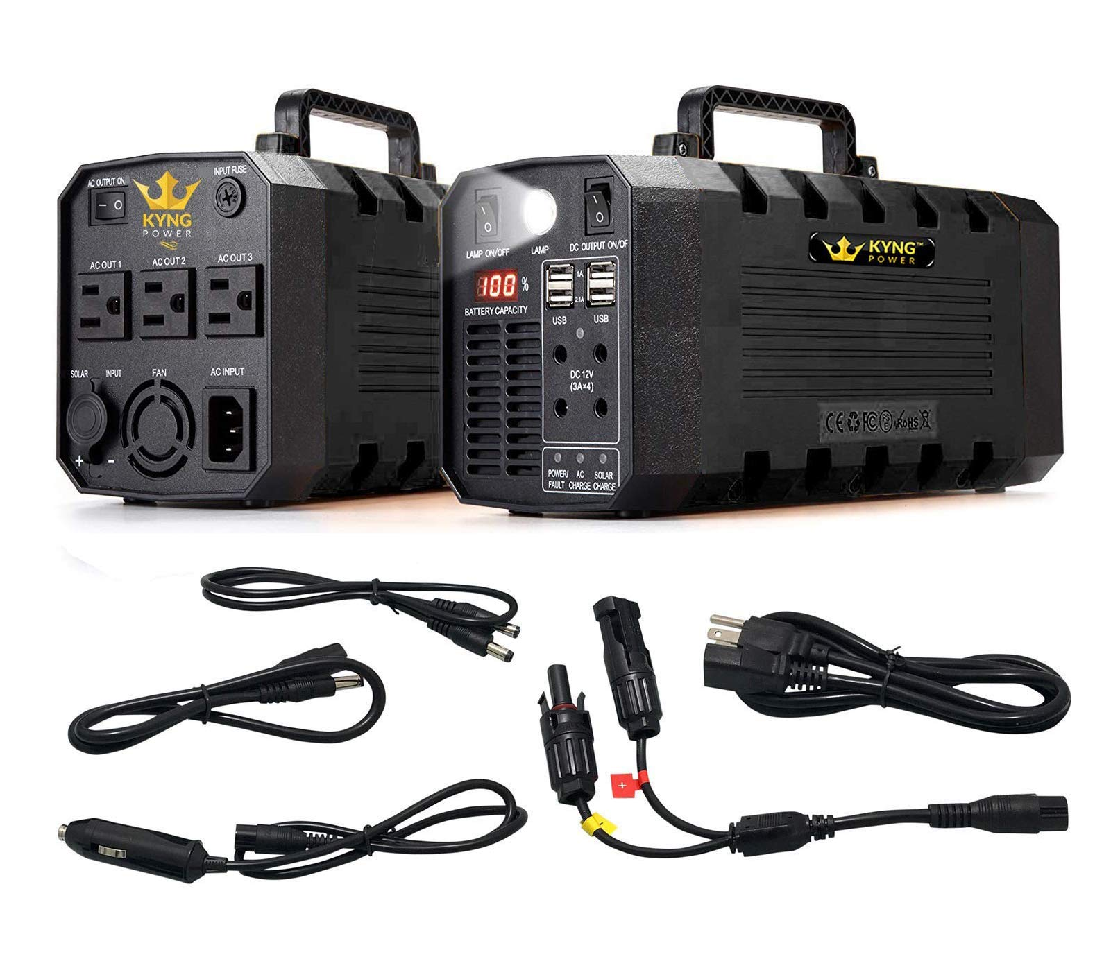 KYNG Power Solar Generator Portable Power Station 500W UPS Battery for Emergency, Tradeshow Battery Powered Inverter 12V, 3 AC, 4 USB Outlets Free Solar Panel Cable, Camping, CPAP, 288wh