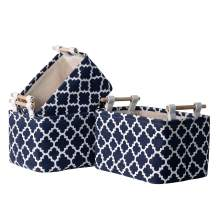 ELONG HOME Fabric Small Storage Baskets with Wooden Handles 3 Pack, Canvas Storage Basket for Organizing, Collapsible Decorative Storage Boxes, Navy
