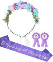 Baby Shower Decoration, Mother To Be Flower Crown Purple Set, Baby Shower for Girl, Growing a Mermaid Sash and Mommy to be Pin, Dad To Be Pin, Purple Baby Shower Party Favors Decorations Gift for Girl