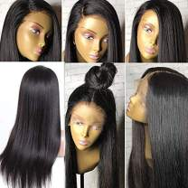 """Human Hair Lace Front Wigs with Baby Hair Silky Straight Virgin Brazilian Human Hair Wig for Black Women 9A Glueless Lace Front Wig Pre Plucked Straight Human Hair Wigs Remy Hair 1B 130% Density 24"""""""