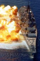 USS Missouri - Guns Firing 55162 (12x18 SIGNED Print Master Art Print - Wall Decor Poster)