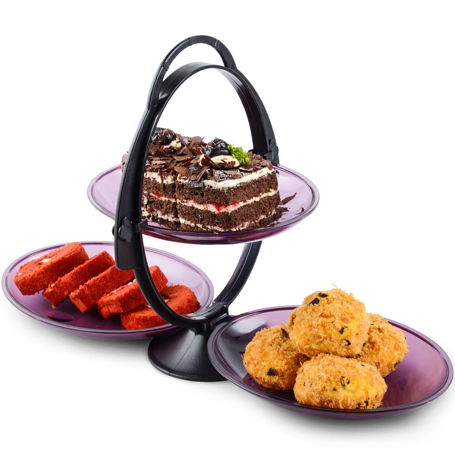 Cupcake Stand Dessert Plates,WorldBackyard Plastic 2-Tier 3 Serving Tray Display Tower for Kids Birthday Tea Party Baby Shower with Handle on Top.