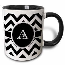 3dRose White Chevron Monogram Initial A Two Tone Black Mug, 11 oz