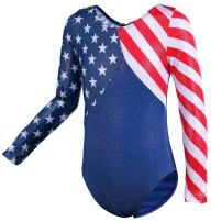 TFJH E Gymnastics Leotard for Girls 3/4 Sleeve Sequin Mesh Athletic Dancewear