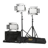 Ikan Rayden (3X) Half x 1 Bi-Color 3200K-5600K Adjustable Studio/Field LED Light with Gold & V-Mount Battery Plate, Barndoors, Stands and Case Included (RB5-3PT-KIT) - Black