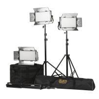 Ikan Rayden (3X) Half x 1 Bi-Color 3200K-5600K Adjustable Studio/Field LED Light with Gold & V-Mount Battery Plate, Barndoors, Stands and Case Included (RB5-3PT-KIT) - Black