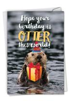 Otterly Awesome - Cute Happy Birthday Note Card with Envelope (4.63 x 6.75 Inch) - Cute Sea Otter with Bday Gift, Present - Adorable Animal Congratulations Card for Kids, Adult C6574EBDG