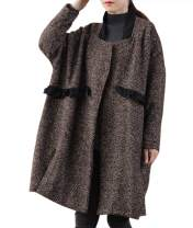 YESNO QH3 Women Casual Loose Tweed Chunky Wool Jacket Checked 'A' Skirt 3/4 Wide Sleeve/Pockets