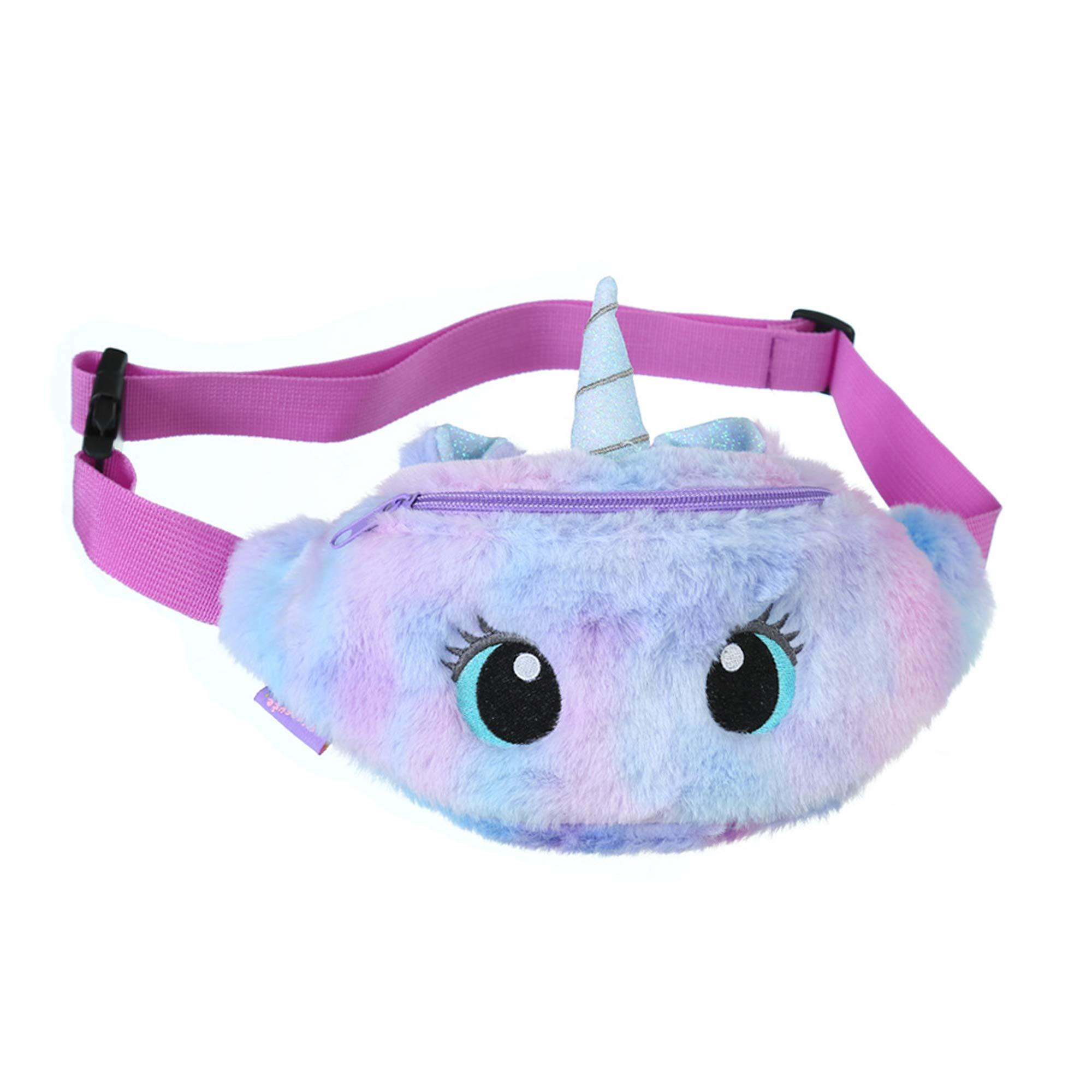 YuDanae Rainbow Unicorn Plush Fuzzy Fanny Pack Waist Bag Cute Bum Bag for Kids Girls(Big Eye Purple)