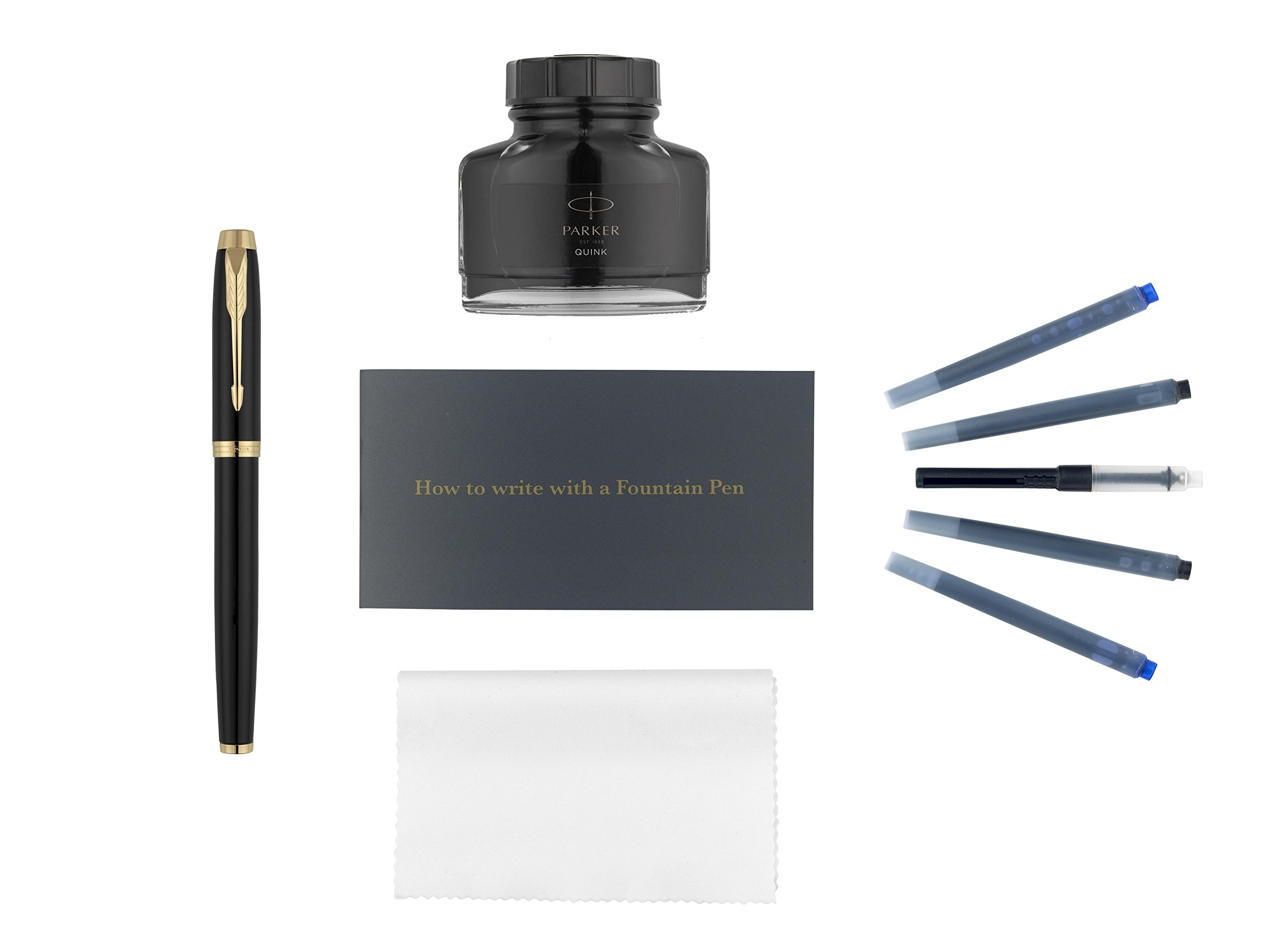 Parker IM Fountain Pen Kit, Black Lacquer with Gold Trim, Ink Bottle Refill, Ink Cartridge Refills, Ink Bottle Converter