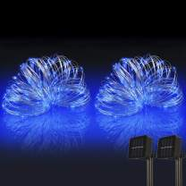 woohaha Solar String Lights, 2PACK 33ft 100 LED Blue Copper Wire Lights, Waterproof Fairy Decoration Starry String Lights - 8 Modes, Indoor/Outdoor for Gardens, Patios, Homes, Parties(Blue,2PCS)