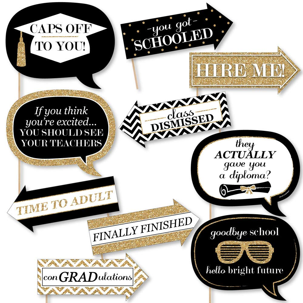 Big Dot of Happiness Funny Gold Tassel Worth The Hassle - Graduation Party Photo Booth Props Kit - 10 Piece