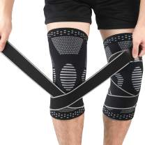 Beister 1 Pair Knee Compression Sleeves with Adjustable Straps for Men & Women, Professional Knee Support Brace for Meniscus Tear, Arthritis, Sports Joint Pain Relief, Running, Basketball