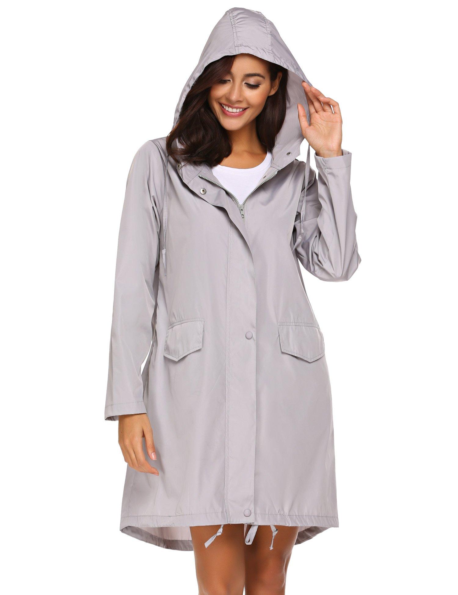 SoTeer Rain Coat Women Long Rain Jacket Lightweight Hooded Waterproof Active Outdoor Rain Jacket Windbreaker S-XXL
