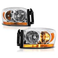 For 2006 Dodge RAM 1500 2500 3500 Pickup Truck Chrome OE-Style Headlight Housing Headlamp Assembly Replacement Set Driver & Passenger Side