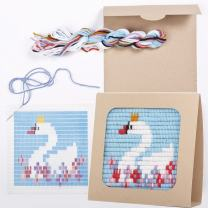 "Sozo - Colorful DIY Needlepoint Embroidery Craft Kit for Beginners. Eco Friendly Package That Turns into a Display Frame, Easier Than Cross Stitch. Size - 8"" x 8"" (Swan)"