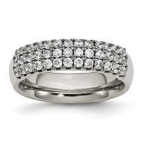 ICE CARATS Titanium Multi Row Cubic Zirconia Cz Band Ring Fashion Jewelry for Women Gift Set