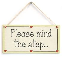 """Meijiafei Please Mind The Step. - Functional Stairs Step Gift Love Heart Frame Sign 10""""x5"""""""