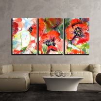 """wall26 - Watercolor Poppies Painting - Canvas Art Wall Decor - 16""""x24""""x3 Panels"""