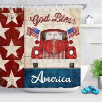 LB Vintage American Flag Shower Curtain 4th of July Independence Day Red Truck Shower Curtain Set with Hooks for Bathroom,70Wx70H Waterproof Fabric Shower Curtain