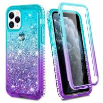 Ruky iPhone 11 Pro Case 2019, iPhone 11 Pro Full Body Case with Built-in Screen Protector Glitter Liquid Women Girls Cover Phone Case for iPhone 11 Pro 5.8 inch (Aqua)