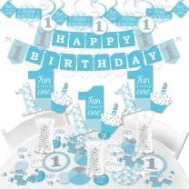 Big Dot of Happiness 1st Birthday Boy - Fun to be One - First Birthday Party Supplies - Banner Decoration Kit - Fundle Bundle