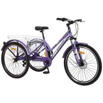 Adult Tricycle, 7 Speed Three Wheel Bikes Mountain Tricycles, 24/26 Inch Adults Trikes Men's Women's Cruiser Trike Bike with Large Basket