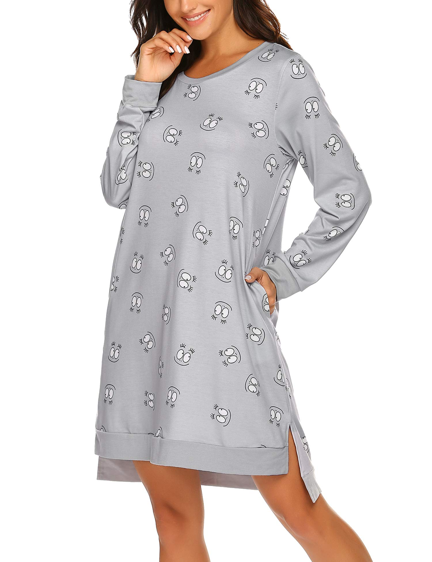 Hotouch Loungewear Long Sleeve Nightgown Printed Soft Sleep Shirts with Pocket S-XXL