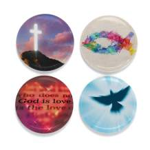 """Buttonsmith Christian Glow Magnet Set - Set of 4 1.25"""" Magnets - Made in the USA"""