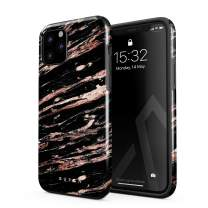 BURGA Phone Case Compatible with iPhone 11 PRO MAX - Rich Rose Gold and Black Marble Cute Case for Woman Heavy Duty Shockproof Dual Layer Hard Shell + Silicone Protective Cover