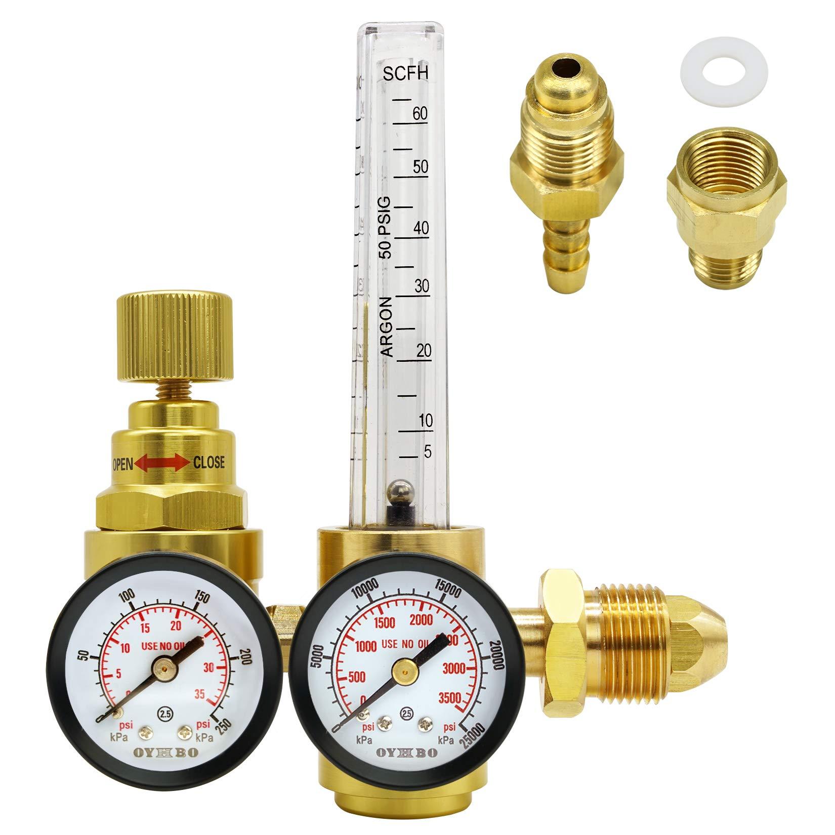 OYHBO Argon CO2 Flow Meter Gas Regulator for TIG MIG Welding Welder CGA580 Inlet 0-3500PSI Dual Gauges