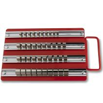 Neiko 02458A Socket Set Organizer Tray with Handle | Holds 40: 1/4-inch, 3/8-inch, and 1/2-inch Sockets | Steel Construction | 2 Pack