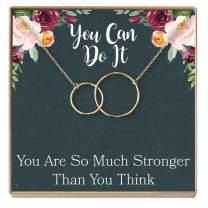 Dear Ava Motivational Gift Necklace: Inspirational Gift, Motivational Quotes, Encouragement, Empowering, 2 Interlocking Circles