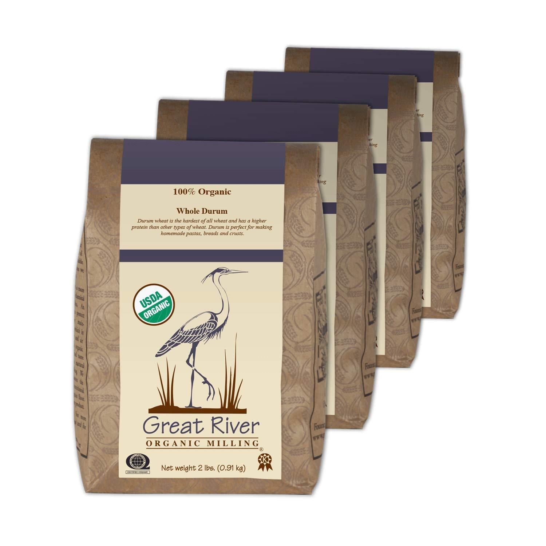 Great River Organic Milling, Whole Grain Durum Wheat, Organic, Whole Grain, 2 Lb (Pack Of 4)