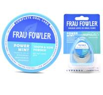 Frau Fowler Tooth Powder and eoFLOSS Value Pack in Power Mint for remineralizing and whitening 1.7 oz / 55 yards