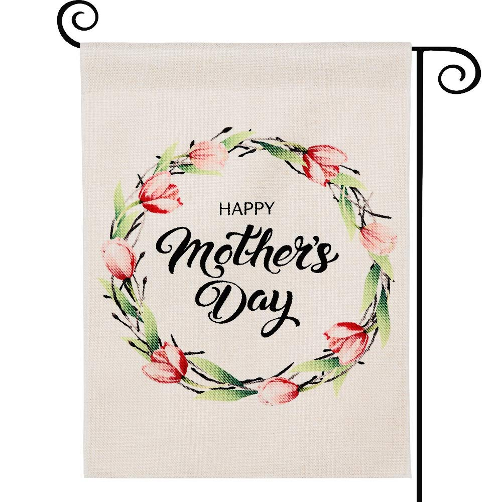 DOLOPL Happy Mother's Day Garden Flag 12.5x18 Inch Double Sided Decorative Watercolor Floral Wreath Samll Yard Garden Flags for Outside Mother's Day Outdoor Indoor Decorations