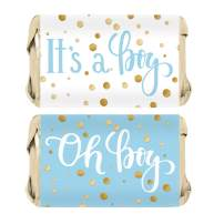 Blue and Gold It's a Boy Baby Shower Mini Candy Bar Wrappers - 45 Stickers