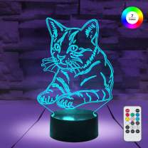 [ 7 Colors/3 Working Modes/Timer Function ] Remote and Touch Control Cat Night Lights, Dimmable LED Bedside Lamp for Children and Kid's Room