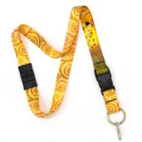Buttonsmith Klimt Kiss Breakaway Lanyard - with Buckle and Flat Ring - Made in The USA