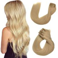 Remy Clip in Hair Extensions Straight Blonde Human Hair Clip in Real Extensions Double Weft Hair Extensions Clip on 8 Pieces 120G/Set 16 Inch for Women