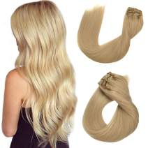 Remy Clip in Hair Extensions Blonde Straight Human Hair Clip in Real Extensions Double Weft 8 Pieces 180G/Set 22 Inch Clip on for Women/Kids