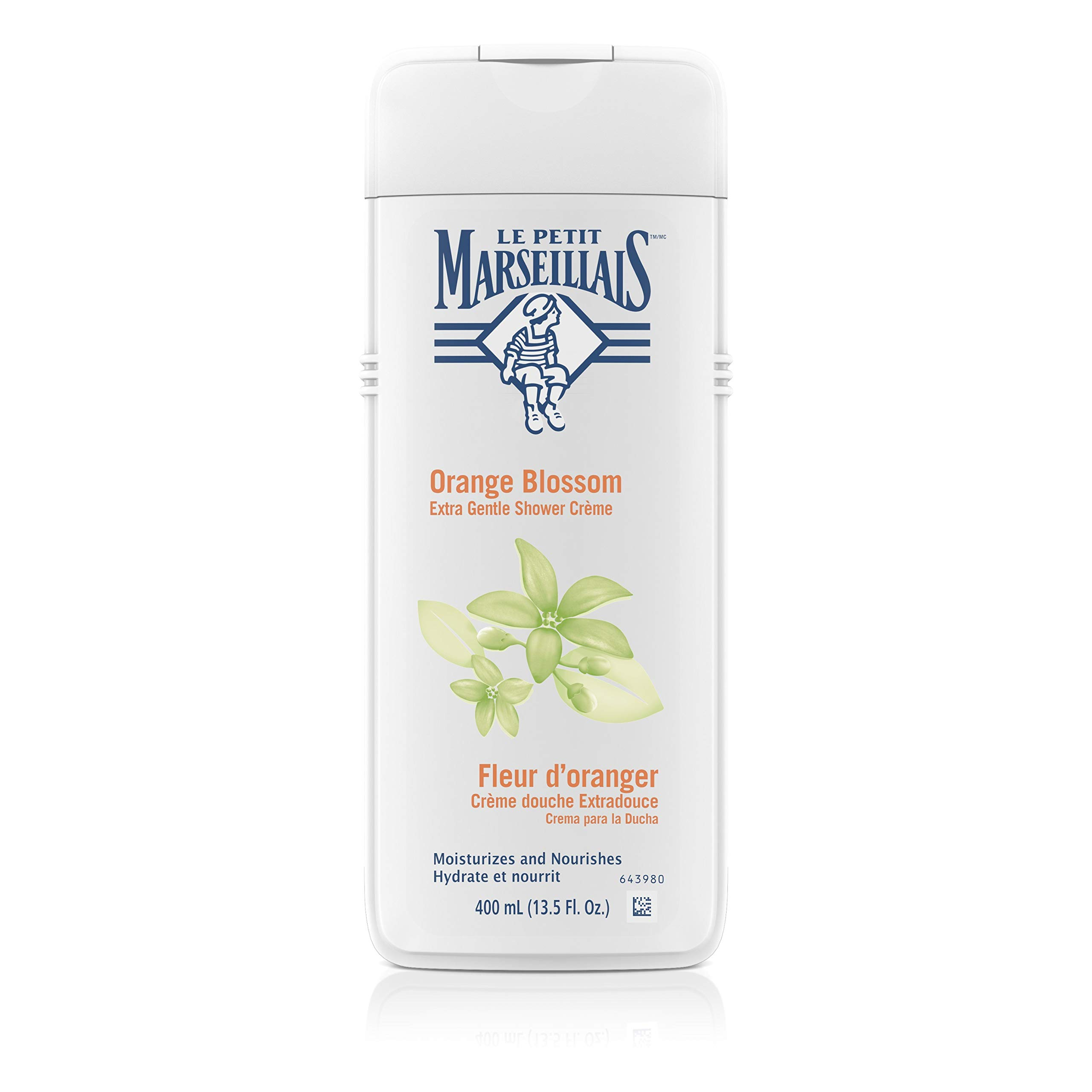 Le Petit Marseillais Extra Gentle Shower Crème with Orange Blossom, Moisturizing & Nourishing French Body Wash for pH Neutral for Skin, 13.5 fl. oz